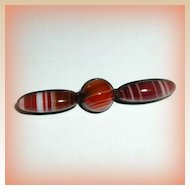 Victorian Scottish Banded Agate and Sterling Pin - Circa 1880