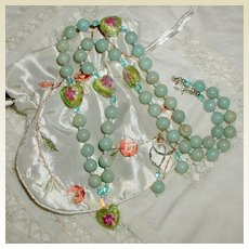 Lampwork Rosebud Necklace and Earrings
