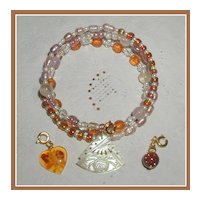 Three Charms  Amber Memory Wire Bracelet
