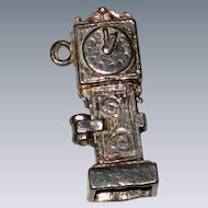 Silver Mechanical Grandfather Clock Charm - Opens With Mouse Inside