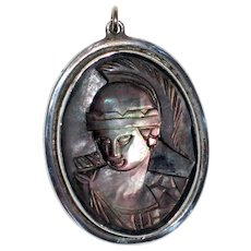 Pendant with Abalone Shell Cameo of a Roman Soldier in a Sterling Silver Bezel