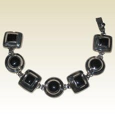 """Mexican Sterling Silver and Black Onyx Modernist Bracelet - 7 1/2"""""""