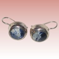Mexican Sterling Silver Pierced Earrings with Blue Sodalite
