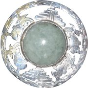 Mexican Sterling Silver Brooch or Pendant with Aventurine Stone, Mayan or Aztec Pyramids and Diety