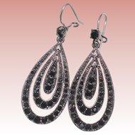 Liz Claiborne Signed Silver-tone and Black Rhinestone Pierced Earrings