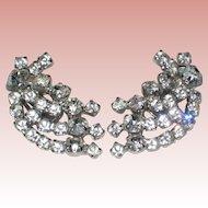 Ultra-glamorous Mid Century Rhinestone Clip Earrings