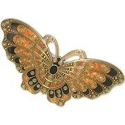 Deco Inspired Enameled Butterfly Hair Clip Barrette