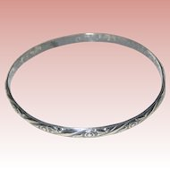 Early Danecraft Felch Sterling Silver Bangle Bracelet with Floral Design