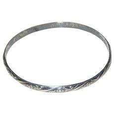 Early Danecraft Felch Sterling Silver Bangle Bracelet with Floral Design