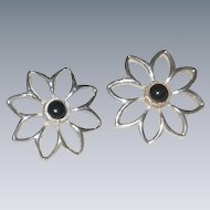 Mexican Sterling Silver Daisy Flower Earrings with Onyx Centers