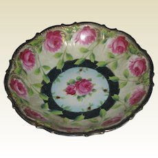 Wheelock Porcelain Bowl with Hand Painted Roses and Moriage Highlighting