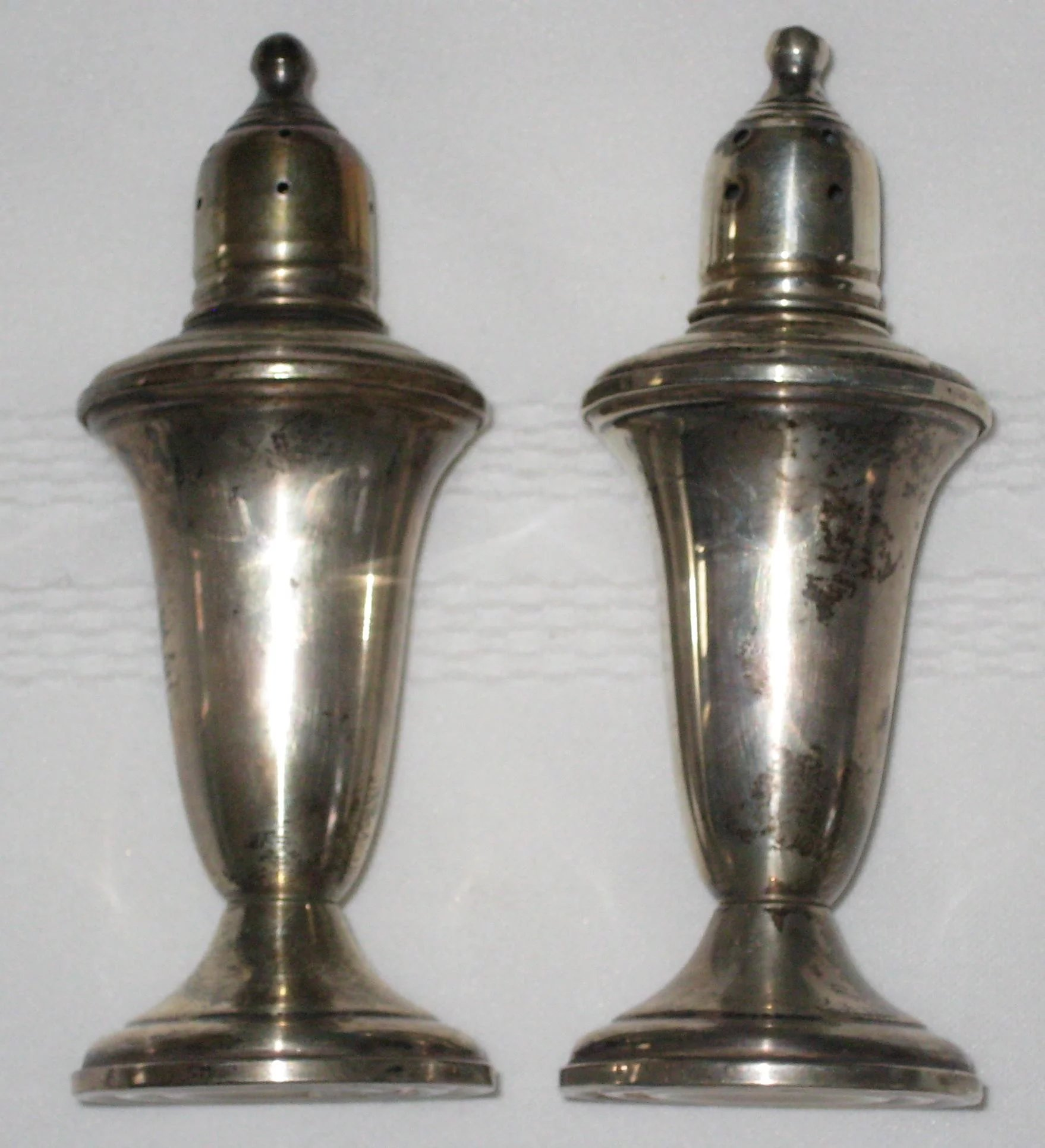 Empire Sterling Silver Salt and Pepper Shakers Glass Lined and