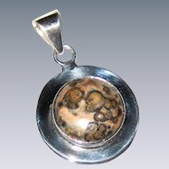 Ocean Jasper Pendant in a Wide Mexican Sterling Silver Setting