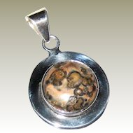 Ocean Jasper Pendant in a Wide Mexican Sterling Silver Setting