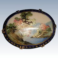 Scenic Hand Painted Satsuma Porcelain Brooch