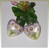 Hand Painted Porcelain Heart Shaped Earrings with Daisies