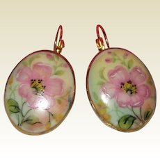 Hand Painted Porcelain Earrings with Pink Wild Roses
