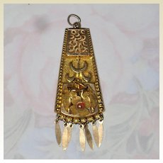 Victorian Rolled Gold Lavaliere - Floral with Coral Bead