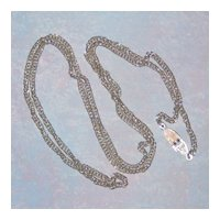 Sarah Coventry 1960's Silver-tone Chain Necklace with Unusual Clasp 30""