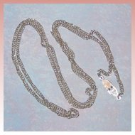 """Sarah Coventry 1960's Silver-tone Chain Necklace with Unusual Clasp 30"""""""