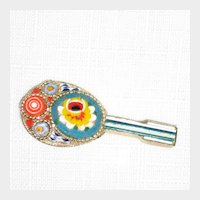 Mid-Century Italian Multicolored Mosaic Mandolin Pin