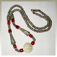Moroccan Berber Silver-colored Metal and Amber Necklace
