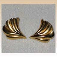 Wing-like Burnished Gold-Tone Pierced Earrings