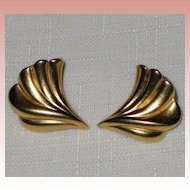 Wing-like Burnished Gold-Tone Pierced Earrings