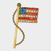 Red, White and Blue Rhinestone Flag Pin