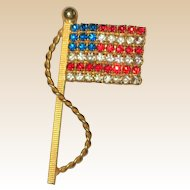 Red, White and Blue Rhinestone Flag Pin