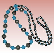 """28"""" Necklace of Ceramic Blue, Silver-tone and Blue Glass Beads"""