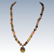 North African Necklace of Tiger Eye and Carnelian with Silver-tone Accents