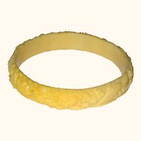 Cream Colored Molded Celluloid Bracelet with Roses, Daisies, Chrysanthemum and Lily of the Valley