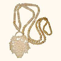Hand Carved Bone Pendant Necklace with Chrysanthemum Flower Basket