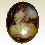 Hand Painted Porcelain Cameo Scene of Young Girl in Yellow Dress
