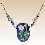 Blue Glass Lampwork Necklace with Crystal Beads on Sterling Chain - Italy