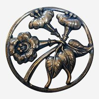 Large Early Danecraft Sterling Silver Brooch with Trumpet Vine