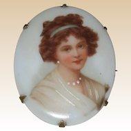 Victorian Porcelain Brooch - Elisabeth Vigee LeBrun