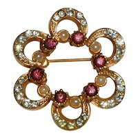 Gold-tone Rosette Pin with Rhinestones, Amethyst Rhinestones and Costume Pearls