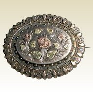 Victorian Keepsake Brooch with Rose and Flowers, Circa 1880