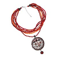 Exotic Red and Amber Ethnic Inspired Pendant with Large Medallion