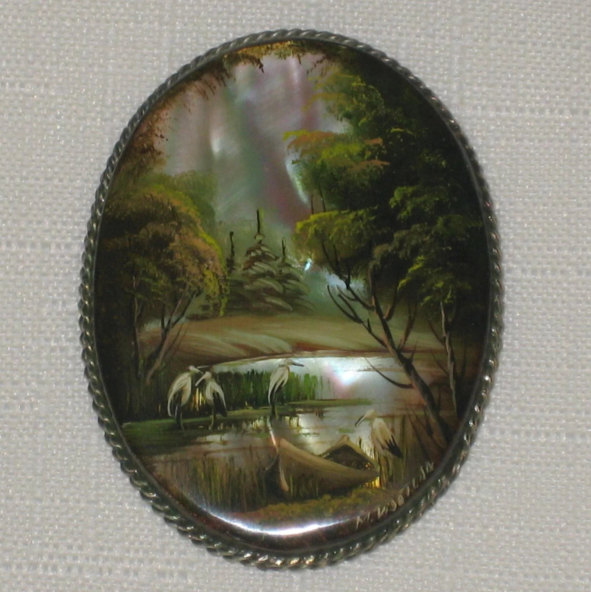 Russian Fedoskino Landscape Brooch Hand Painted On Mother