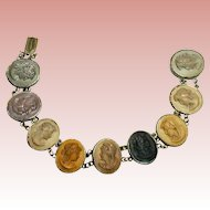 Victorian Nine Cameo Lava Bracelet - Excellent Color, 800 Silver Setting -7.25""