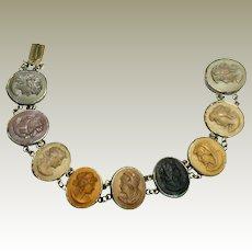 "Victorian Nine Cameo Lava Bracelet - Excellent Color, 800 Silver Setting -7.25"""