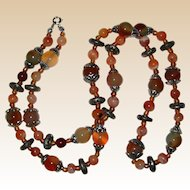 "30"" Agate Necklace in Shades of Rust, Tan and Mossy Green"