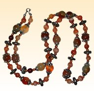 """30"""" Agate Necklace in Shades of Rust, Tan and Mossy Green"""