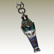 Enameled Sterling Silver Egyptian Mummy Sarcophagus Pendant