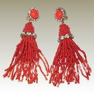 1950's Coral-Red Beaded Tassel Clip Earrings with Rhinestones
