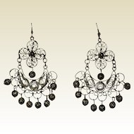 Gold-tone Filigree Gypsy Ethnic Chandelier Earrings