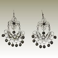 Gold-tone Filigree Gypsy Ethnic Chandelier Earrings